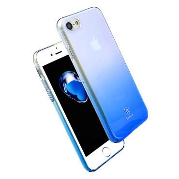 Луксозен калъф/кейс Baseus Glaze за iPhone 7, Твърд, Син, Baseus